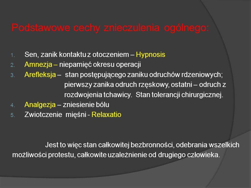 Podstawowe cechy znieczulenia ogólnego: