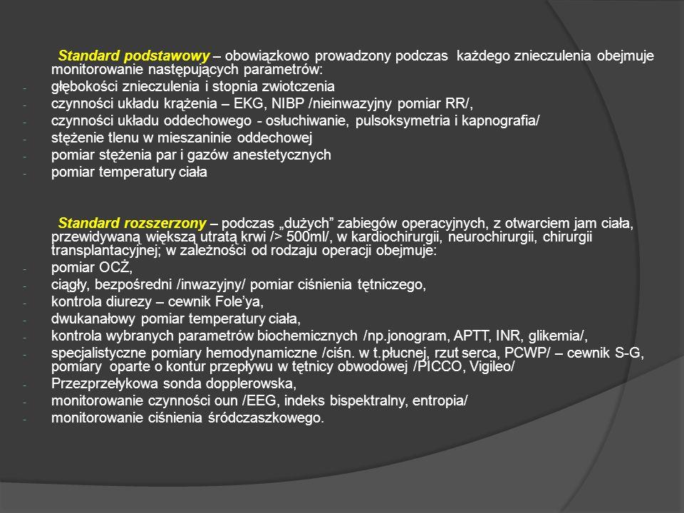 Standard podstawowy – obowiązkowo prowadzony podczas każdego znieczulenia obejmuje monitorowanie następujących parametrów: