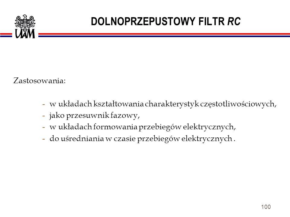 DOLNOPRZEPUSTOWY FILTR RC