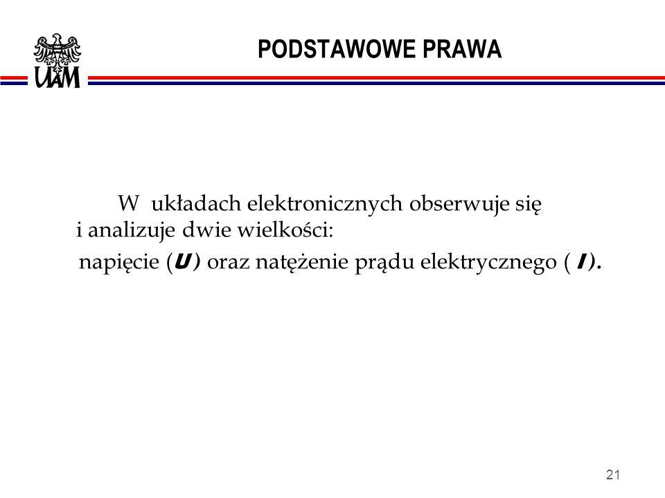 PODSTAWOWE PRAWA W układach elektronicznych obserwuje się i analizuje dwie wielkości: napięcie (U ) oraz natężenie prądu elektrycznego ( I ).