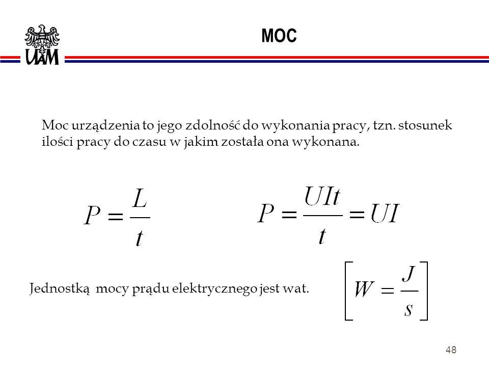 MOC Moc urządzenia to jego zdolność do wykonania pracy, tzn. stosunek ilości pracy do czasu w jakim została ona wykonana.