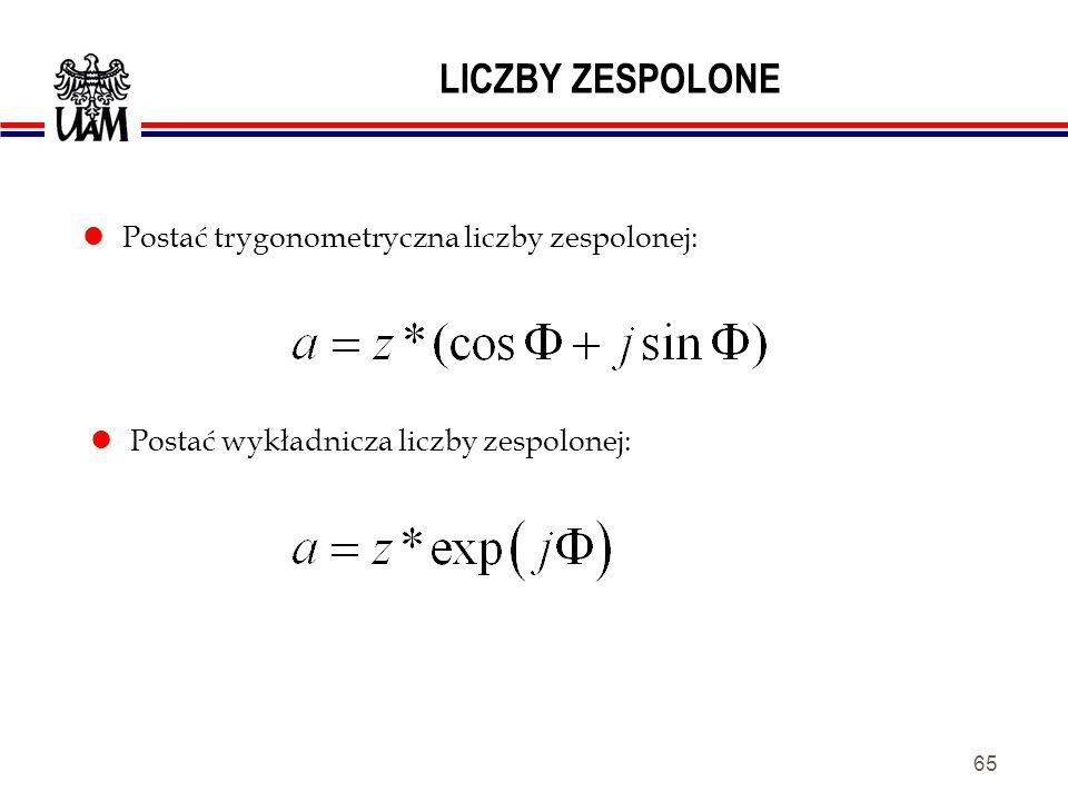 LICZBY ZESPOLONE Postać trygonometryczna liczby zespolonej: