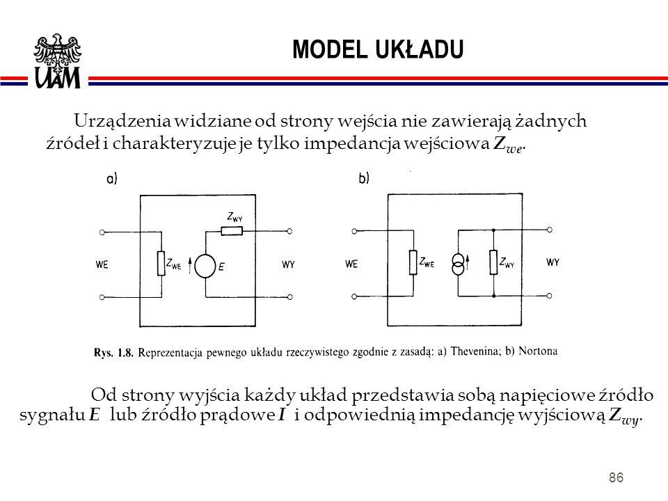 MODEL UKŁADU Urządzenia widziane od strony wejścia nie zawierają żadnych źródeł i charakteryzuje je tylko impedancja wejściowa Zwe.
