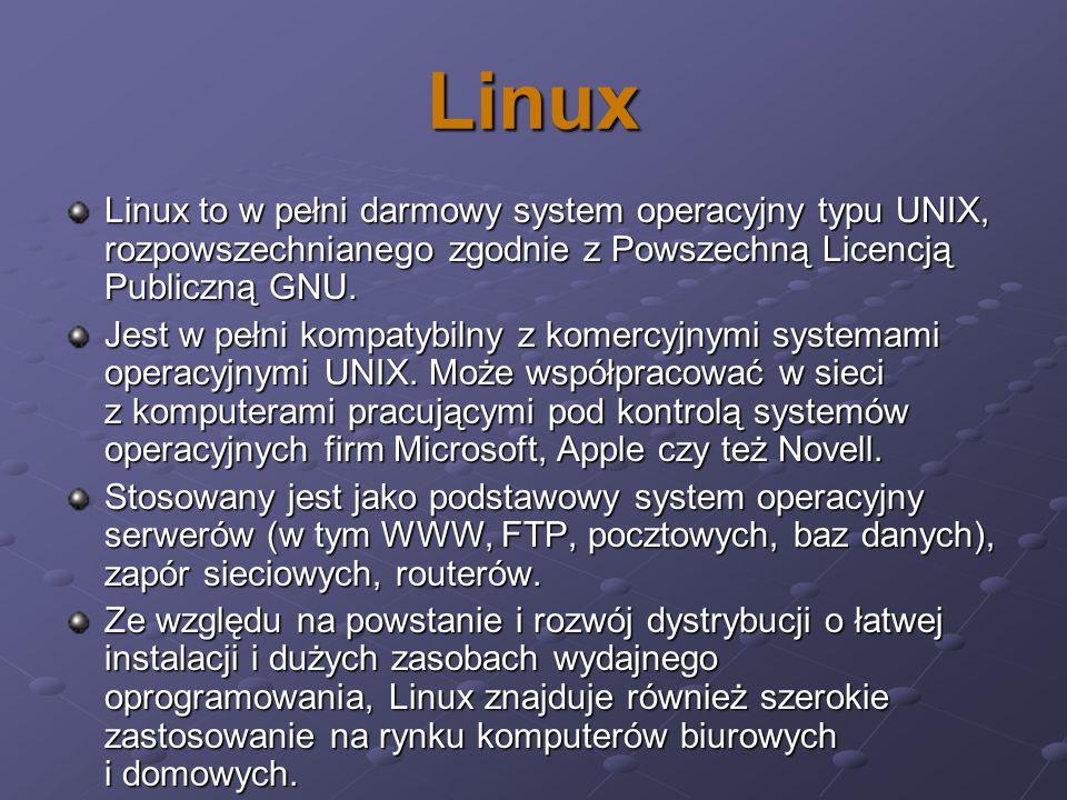Linux Linux to w pełni darmowy system operacyjny typu UNIX, rozpowszechnianego zgodnie z Powszechną Licencją Publiczną GNU.