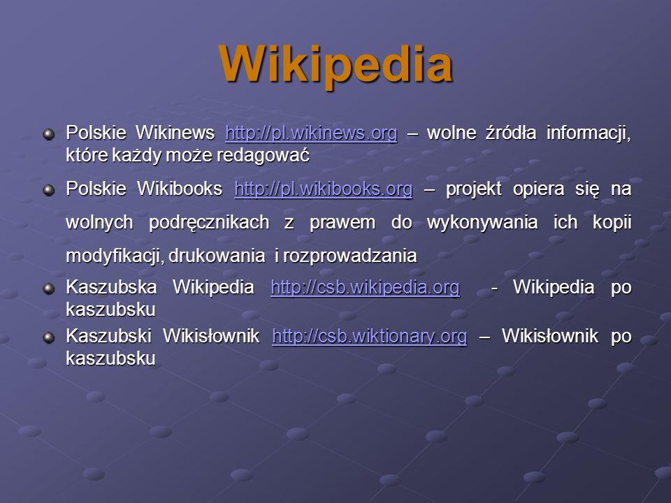 Wikipedia Polskie Wikinews http://pl.wikinews.org – wolne źródła informacji, które każdy może redagować.
