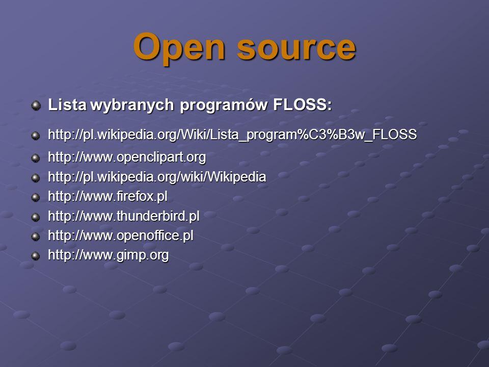 Open source Lista wybranych programów FLOSS: