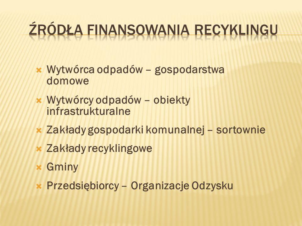 Źródła finansowania recyklingu