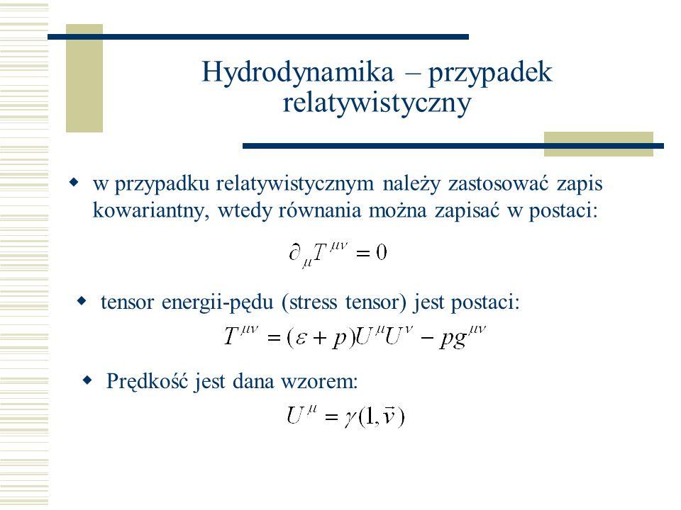 Hydrodynamika – przypadek relatywistyczny