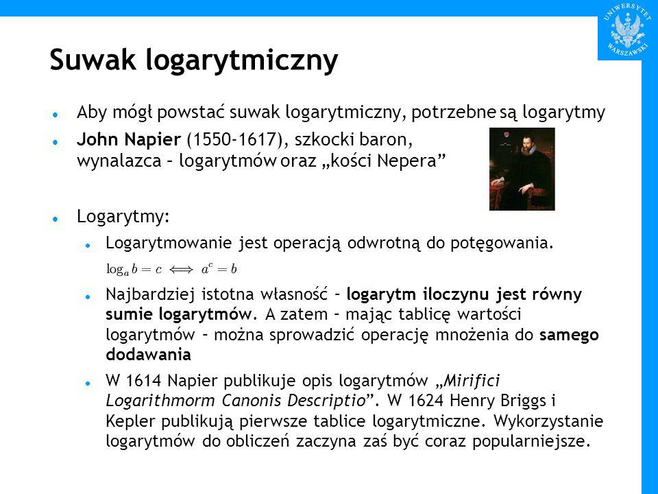 Suwak logarytmiczny Aby mógł powstać suwak logarytmiczny, potrzebne są logarytmy.