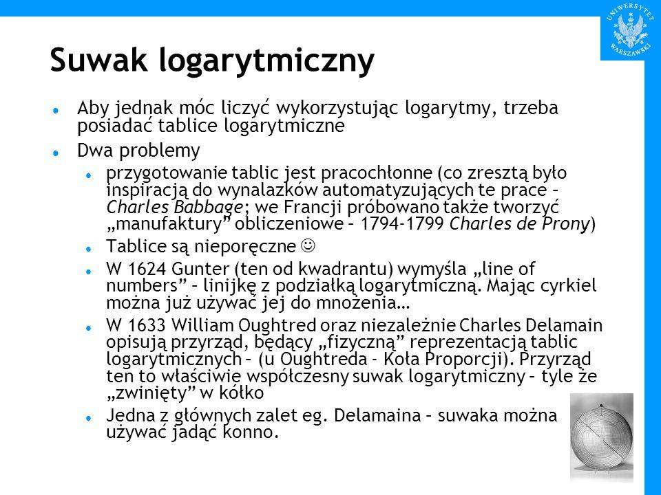 Suwak logarytmiczny Aby jednak móc liczyć wykorzystując logarytmy, trzeba posiadać tablice logarytmiczne.