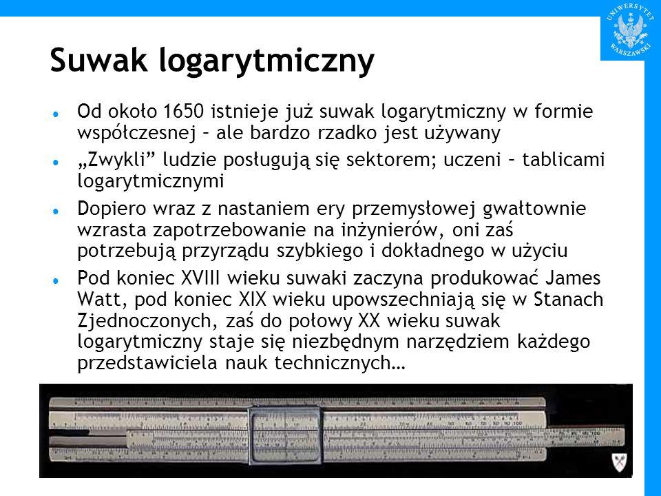 Suwak logarytmiczny Od około 1650 istnieje już suwak logarytmiczny w formie współczesnej – ale bardzo rzadko jest używany.