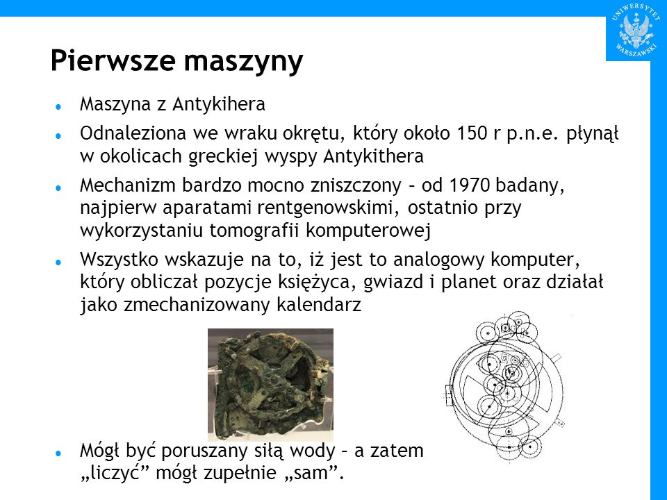 Pierwsze maszyny Maszyna z Antykihera