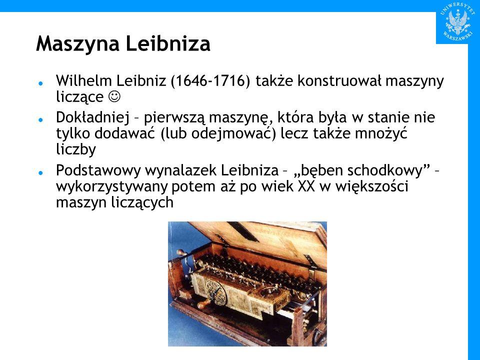 Maszyna Leibniza Wilhelm Leibniz (1646-1716) także konstruował maszyny liczące 