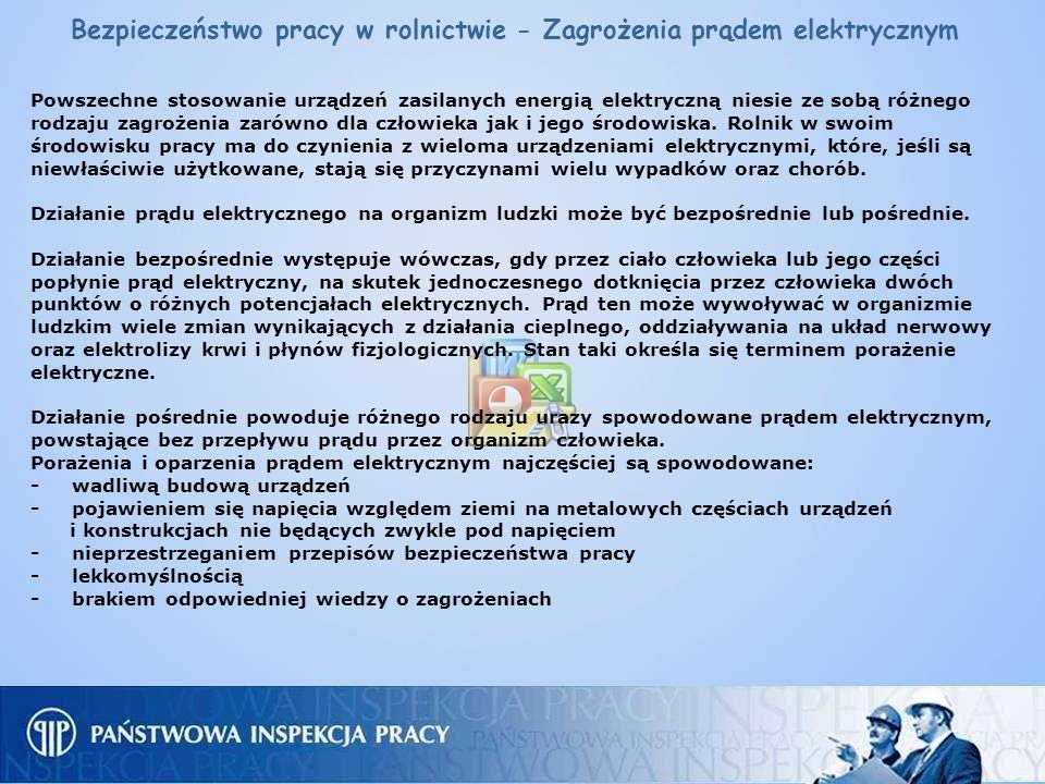 Bezpieczeństwo pracy w rolnictwie - Zagrożenia prądem elektrycznym