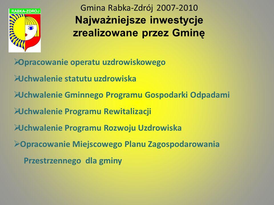 Gmina Rabka-Zdrój Gmina Rabka-Zdrój 2007-2010 Najważniejsze inwestycje zrealizowane przez Gminę. Opracowanie operatu uzdrowiskowego.