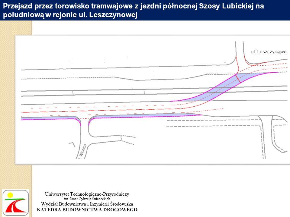 Przejazd przez torowisko tramwajowe z jezdni północnej Szosy Lubickiej na południową w rejonie ul. Leszczynowej