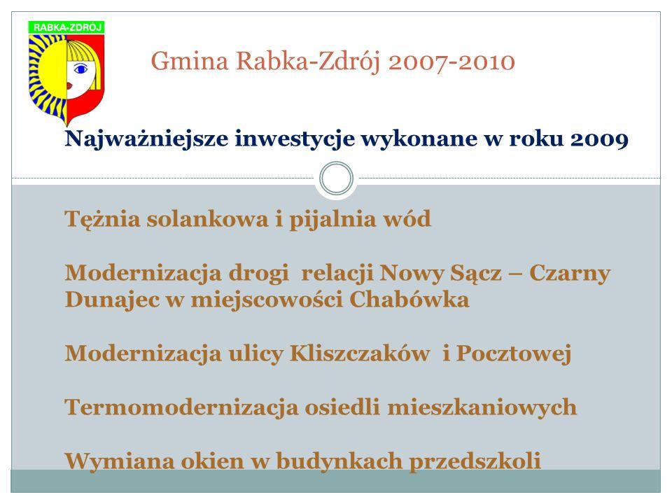 Gmina Rabka-Zdrój Gmina Rabka-Zdrój 2007-2010. Najważniejsze inwestycje wykonane w roku 2009. Tężnia solankowa i pijalnia wód.