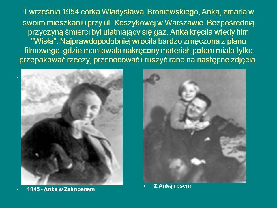 1 września 1954 córka Władysława Broniewskiego, Anka, zmarła w swoim mieszkaniu przy ul. Koszykowej w Warszawie. Bezpośrednią przyczyną śmierci był ulatniający się gaz. Anka kręciła wtedy film Wisła . Najprawdopodobniej wróciła bardzo zmęczona z planu filmowego, gdzie montowała nakręcony materiał, potem miała tylko przepakować rzeczy, przenocować i ruszyć rano na następne zdjęcia.