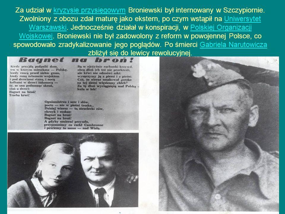 Za udział w kryzysie przysięgowym Broniewski był internowany w Szczypiornie.
