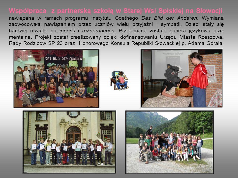 Współpraca z partnerską szkołą w Starej Wsi Spiskiej na Słowacji, nawiązana w ramach programu Instytutu Goethego Das Bild der Anderen.