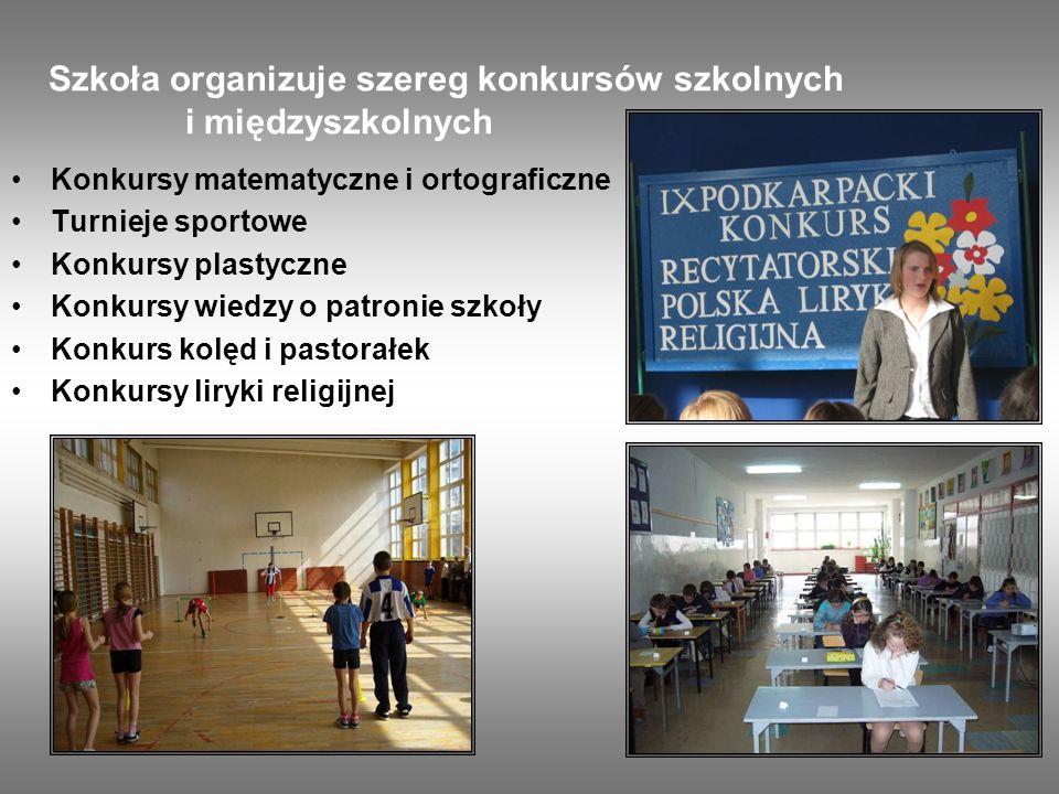 Szkoła organizuje szereg konkursów szkolnych i międzyszkolnych