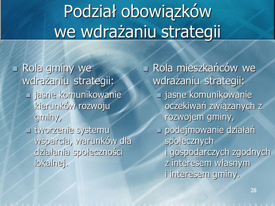 Podział obowiązków we wdrażaniu strategii