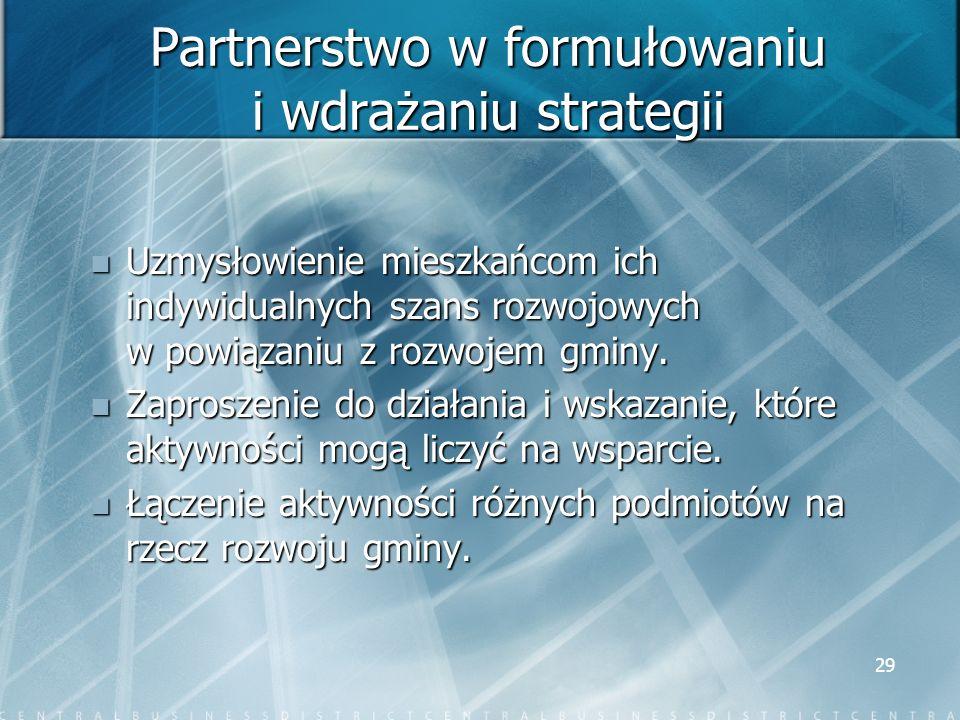 Partnerstwo w formułowaniu i wdrażaniu strategii