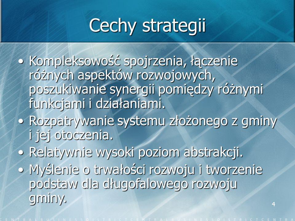 Cechy strategii Kompleksowość spojrzenia, łączenie różnych aspektów rozwojowych, poszukiwanie synergii pomiędzy różnymi funkcjami i działaniami.