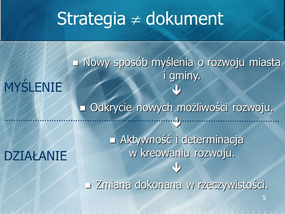 Strategia  dokument MYŚLENIE DZIAŁANIE