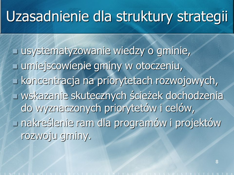Uzasadnienie dla struktury strategii