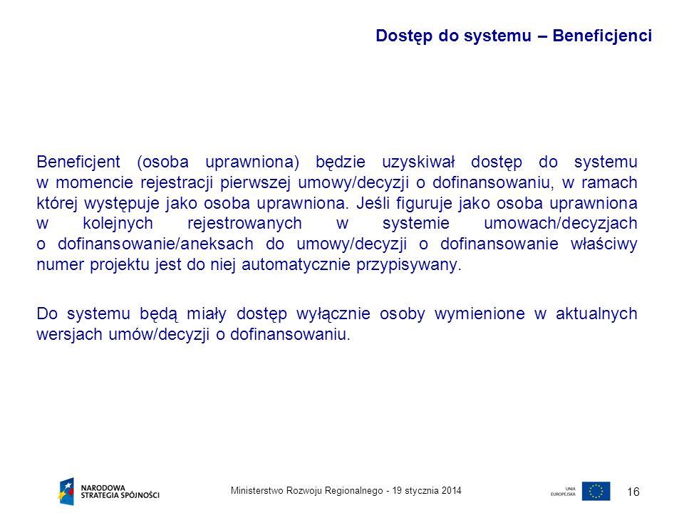 Dostęp do systemu – Beneficjenci