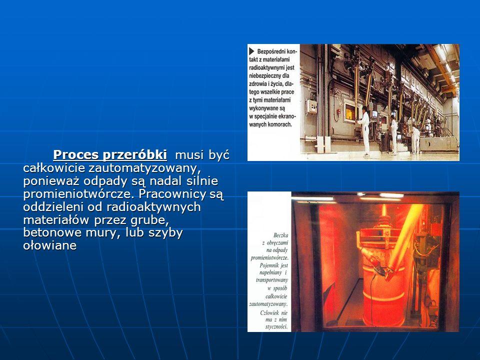 Proces przeróbki musi być całkowicie zautomatyzowany, ponieważ odpady są nadal silnie promieniotwórcze.