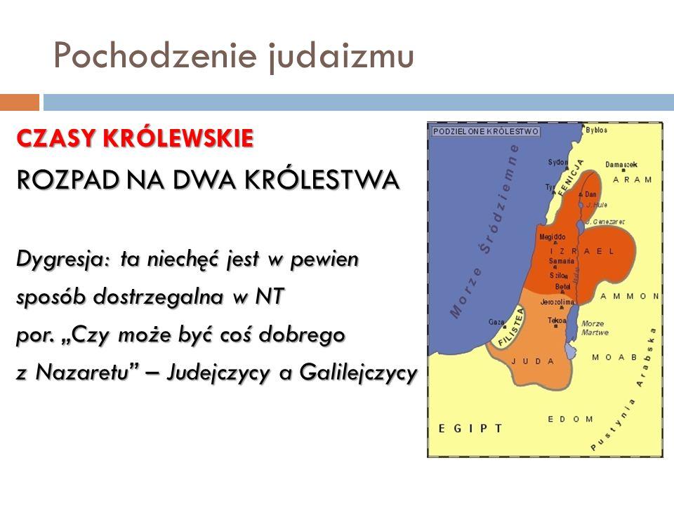 Pochodzenie judaizmu ROZPAD NA DWA KRÓLESTWA CZASY KRÓLEWSKIE
