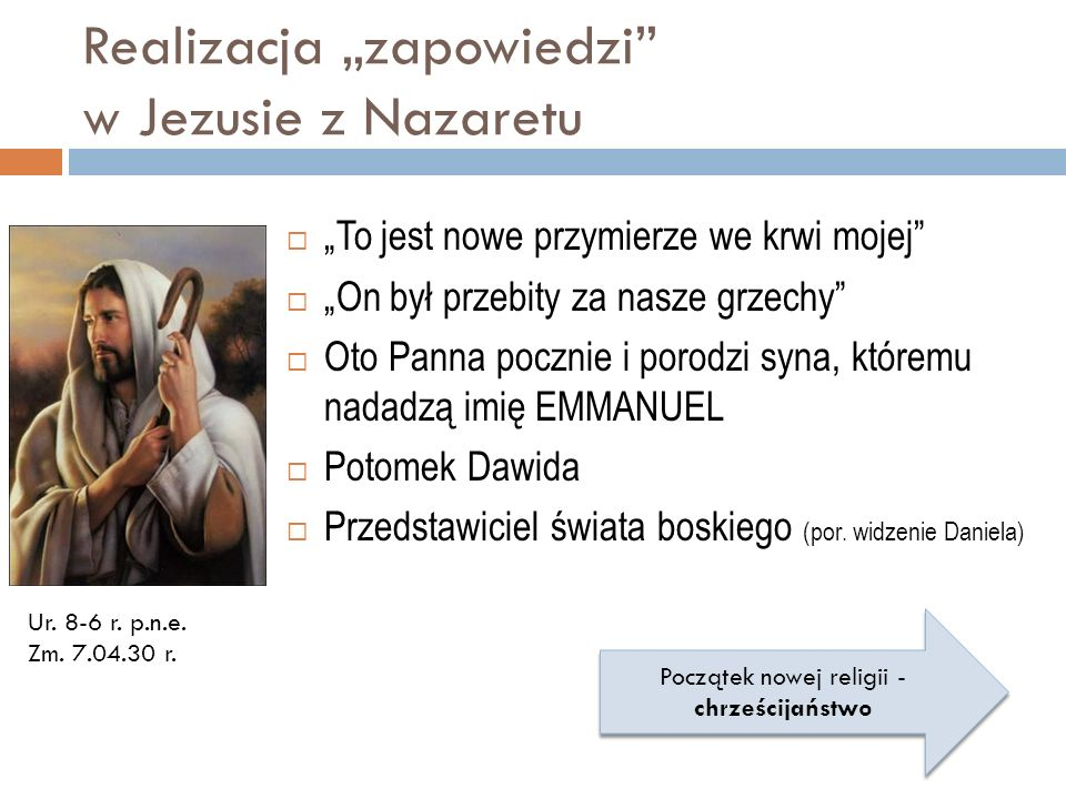 """Realizacja """"zapowiedzi w Jezusie z Nazaretu"""
