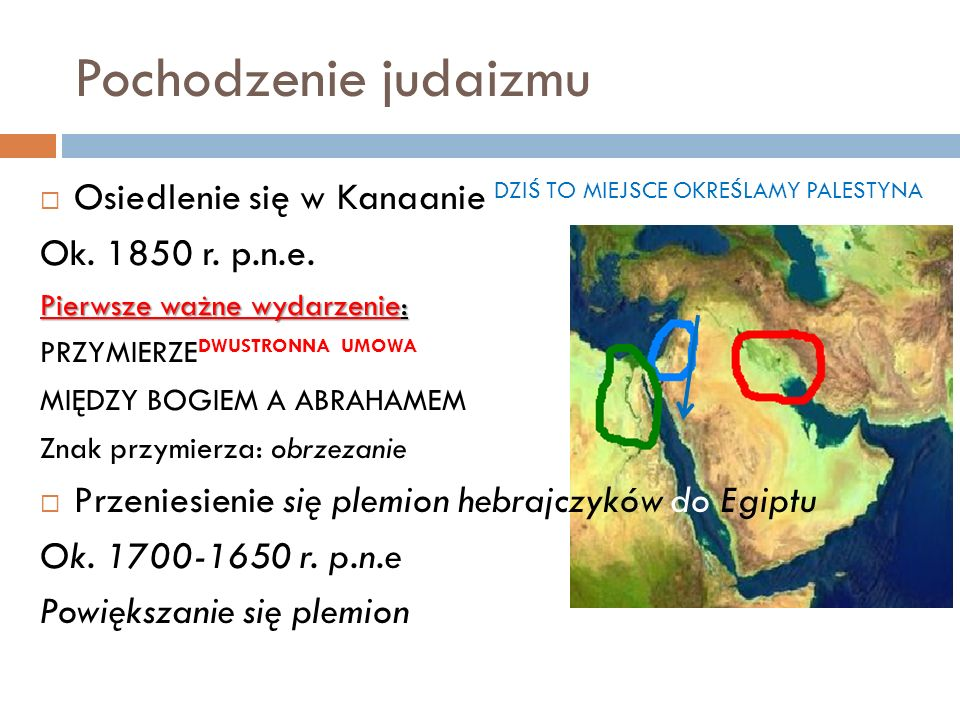 Pochodzenie judaizmu Osiedlenie się w Kanaanie DZIŚ TO MIEJSCE OKREŚLAMY PALESTYNA. Ok. 1850 r. p.n.e.