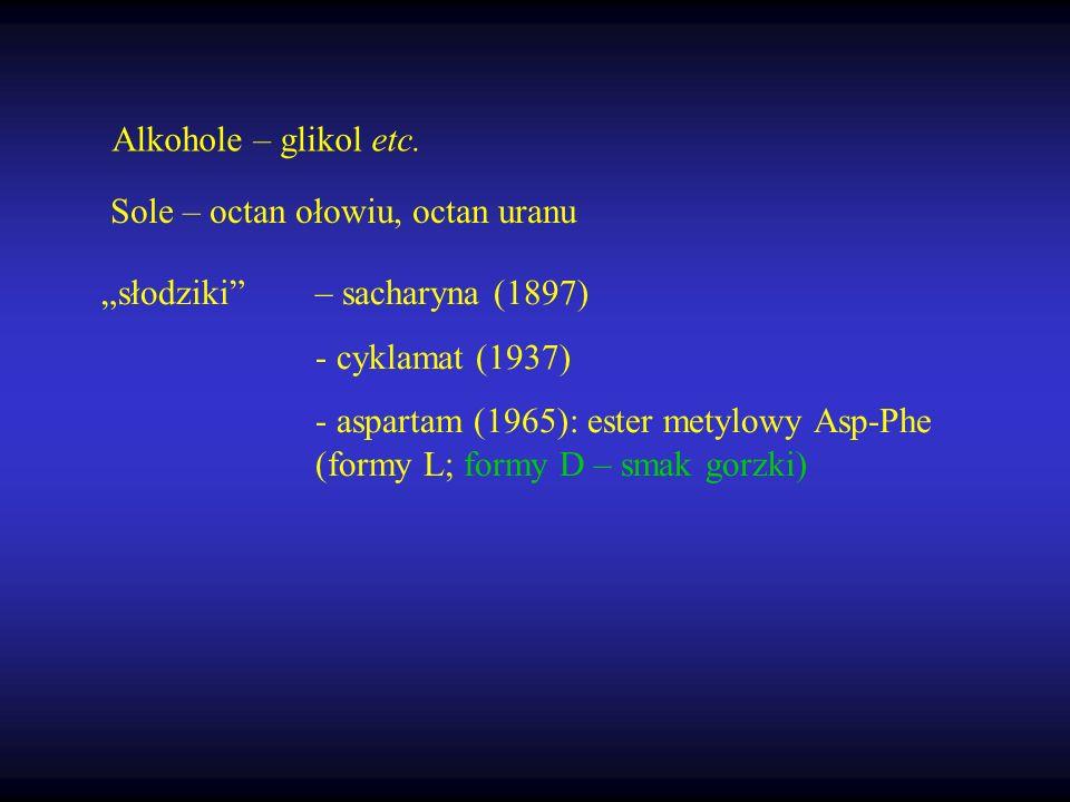 """Alkohole – glikol etc. Sole – octan ołowiu, octan uranu. """"słodziki – sacharyna (1897) - cyklamat (1937)"""