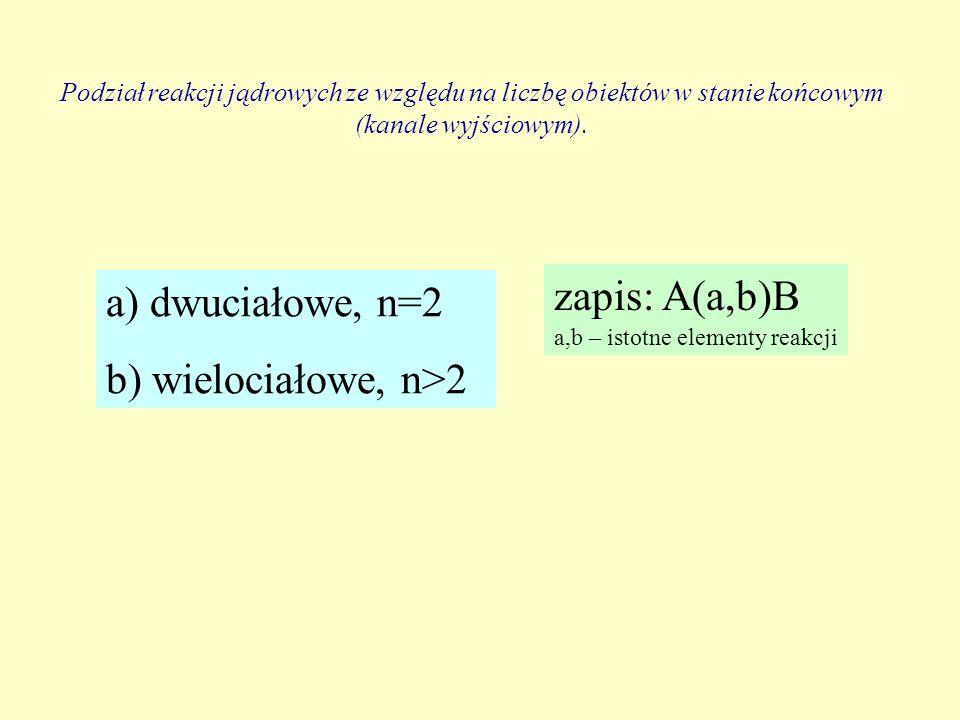 zapis: A(a,b)B a) dwuciałowe, n=2 b) wielociałowe, n>2