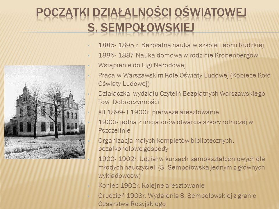 Początki działalności oświatowej S. Sempołowskiej