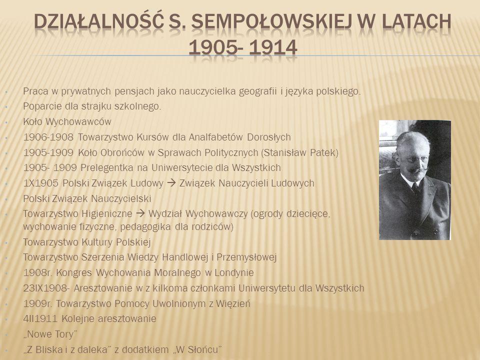 Działalność s. Sempołowskiej w latach 1905- 1914