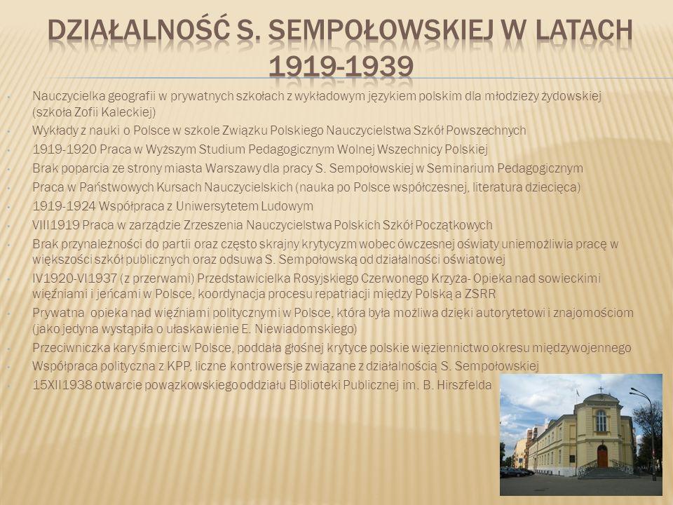 Działalność S. Sempołowskiej w Latach 1919-1939