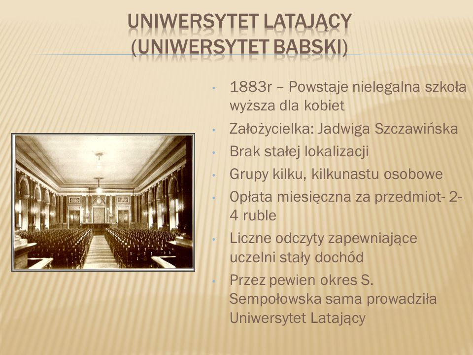 UNIWERSYTET LATAJĄCY (UNIWERSYTET BABSKI)