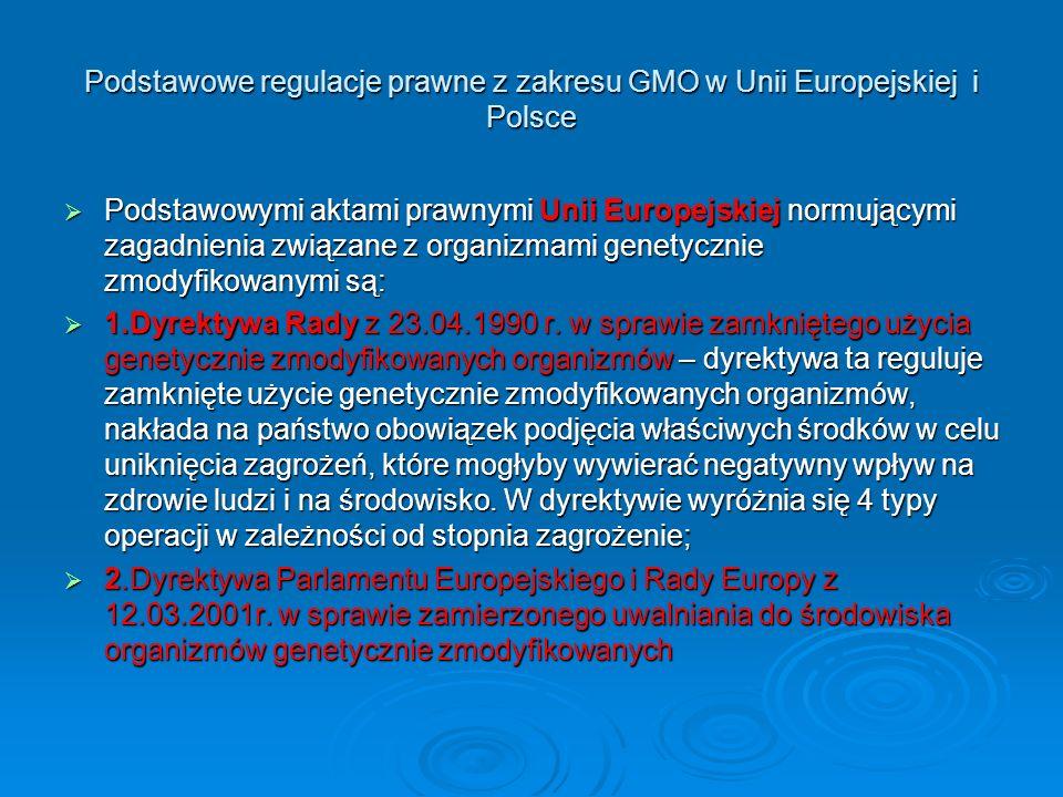 Podstawowe regulacje prawne z zakresu GMO w Unii Europejskiej i Polsce