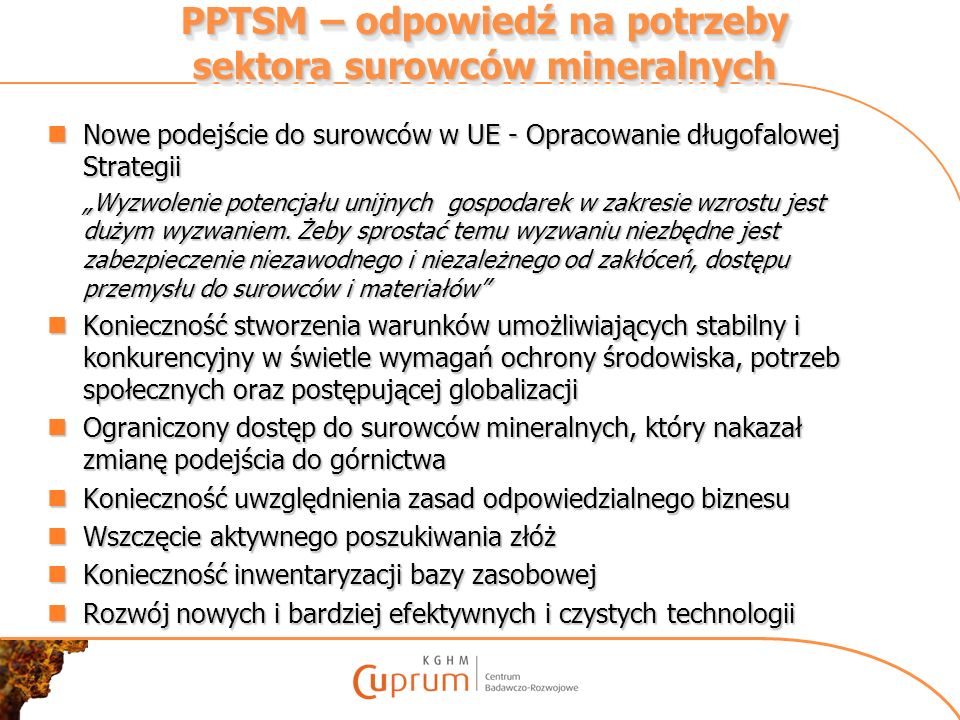PPTSM – odpowiedź na potrzeby sektora surowców mineralnych