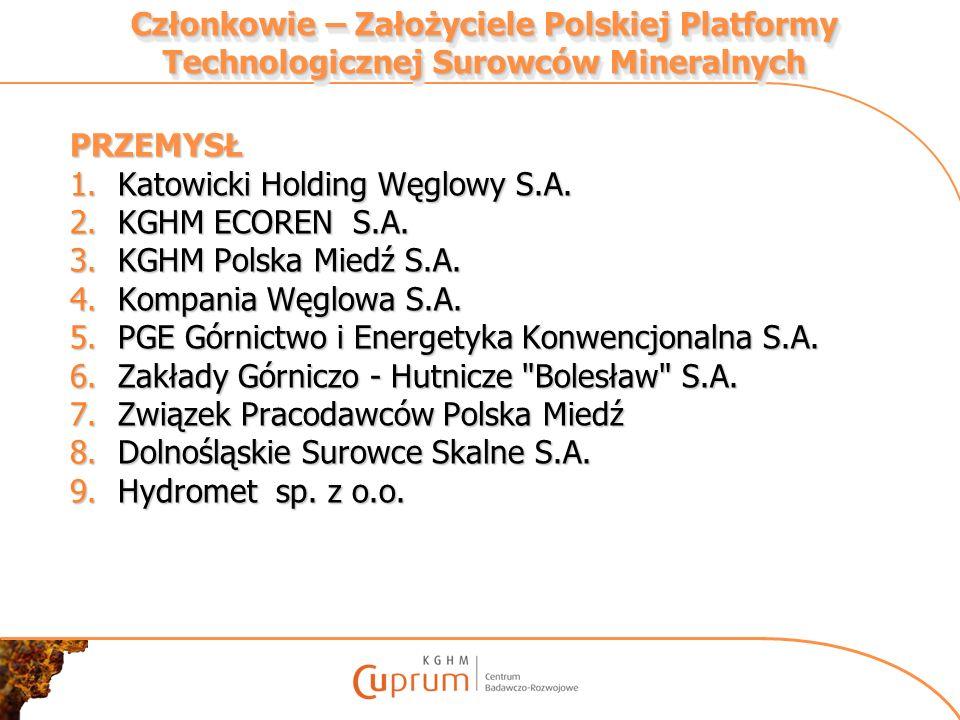 Członkowie – Założyciele Polskiej Platformy Technologicznej Surowców Mineralnych