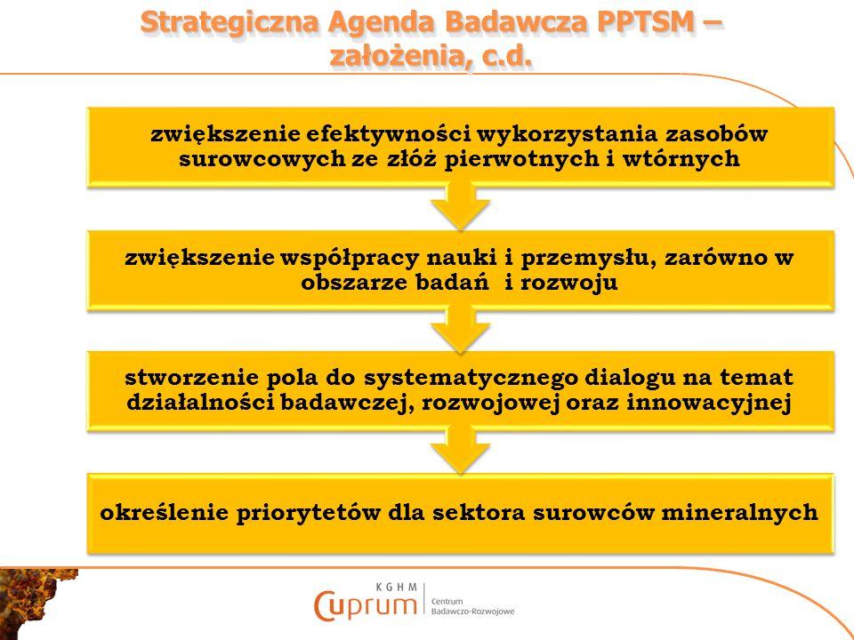 Strategiczna Agenda Badawcza PPTSM – założenia, c.d.