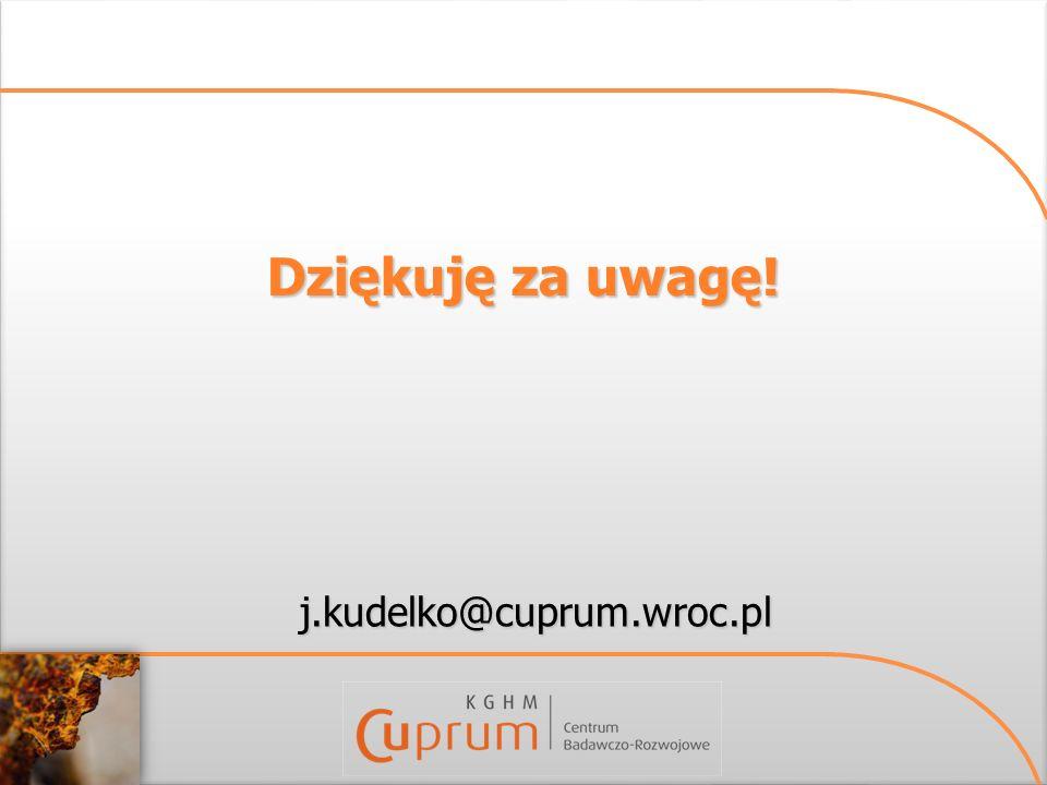 Dziękuję za uwagę! j.kudelko@cuprum.wroc.pl