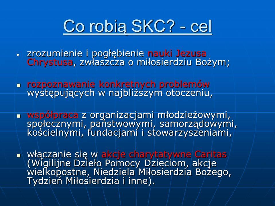 Co robią SKC - cel zrozumienie i pogłębienie nauki Jezusa Chrystusa, zwłaszcza o miłosierdziu Bożym;