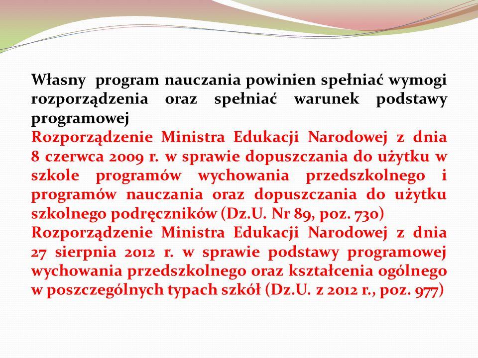 Własny program nauczania powinien spełniać wymogi rozporządzenia oraz spełniać warunek podstawy programowej