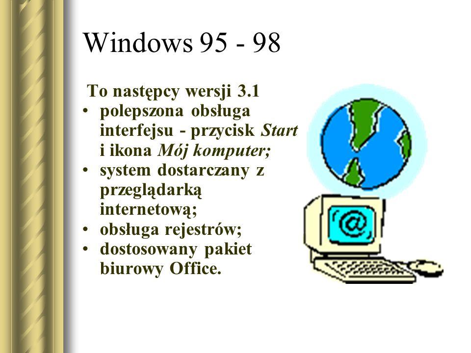 Windows 95 - 98 To następcy wersji 3.1