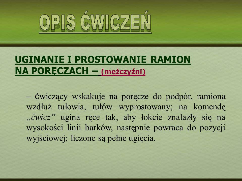 OPIS ĆWICZEŃ UGINANIE I PROSTOWANIE RAMION NA PORĘCZACH – (mężczyźni)